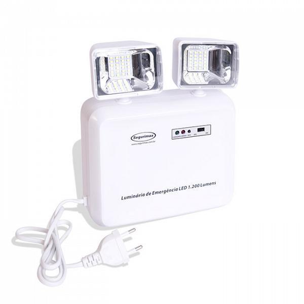 Iluminação de emergência autônoma LED 1200 lúmens SLIM