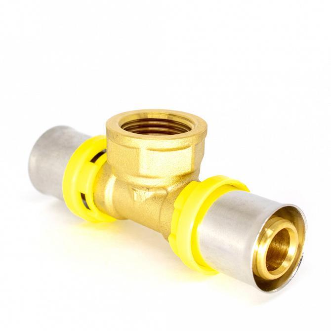 Tê de compressão com rosca central fêmea multicamadas para gás