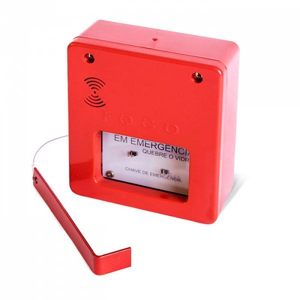 Caixa quebra vidro para chave de emergência para alarme convencional