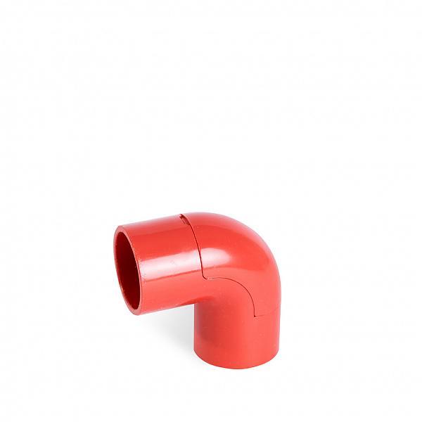 Cotovelo 90° PVC vermelho sem rosca (com abertura)