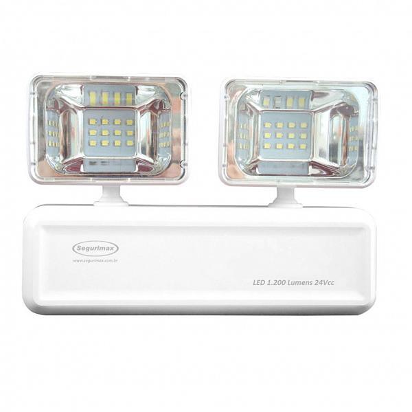 Iluminação de emergência LED 1200 lúmens com 2 faróis 24vcc