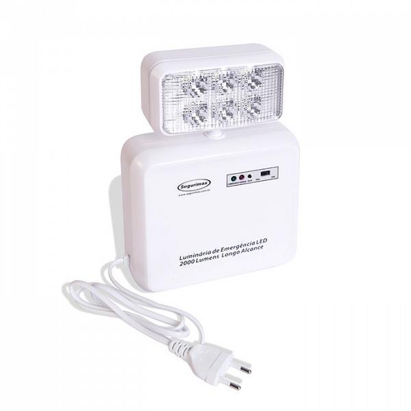 Iluminação de emergência LED 2000 lúmens compacta com bateria selada