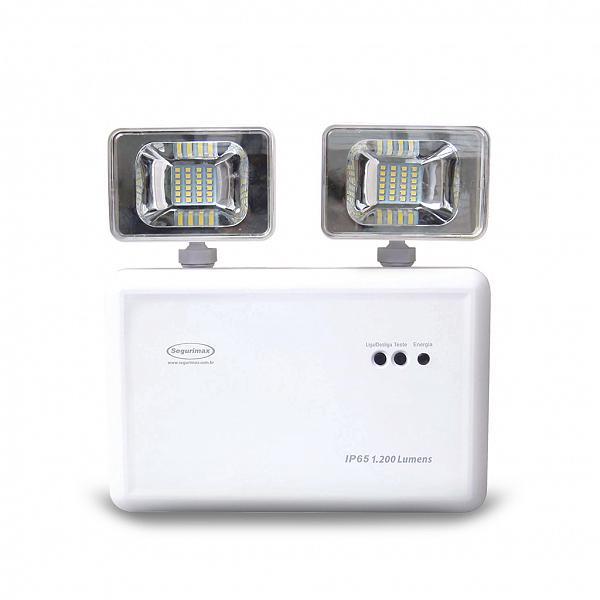 Iluminação Emergência LED 1200 Lúmens 2 faróis - IP65