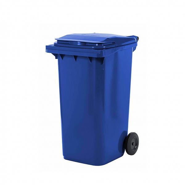 Lixeira contentor de lixo com rodas 240L modelo europeu azul escuro