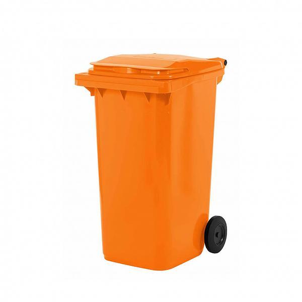 Lixeira contentor de lixo com rodas 240L modelo europeu laranja