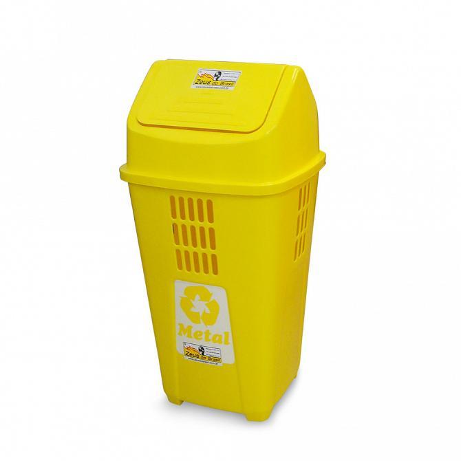 Lixeira ecológica 50L com basculante amarela