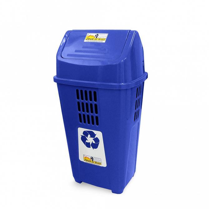 Lixeira ecológica 50L com basculante azul