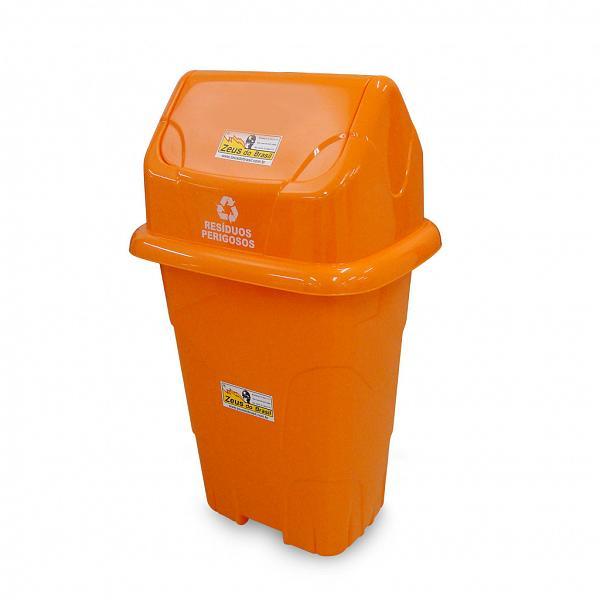 Lixeira ecológica 50L com basculante laranja