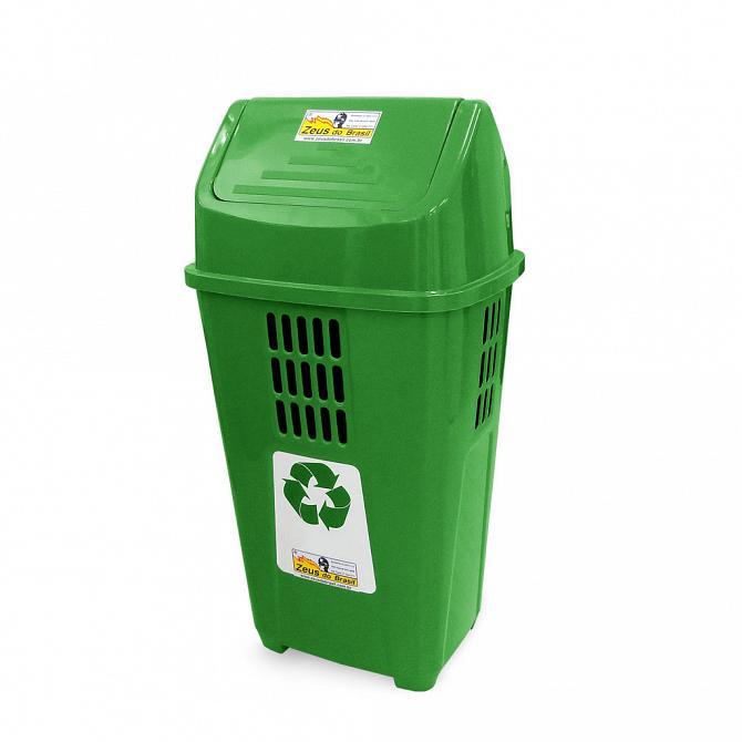 Lixeira ecológica 50L com basculante verde