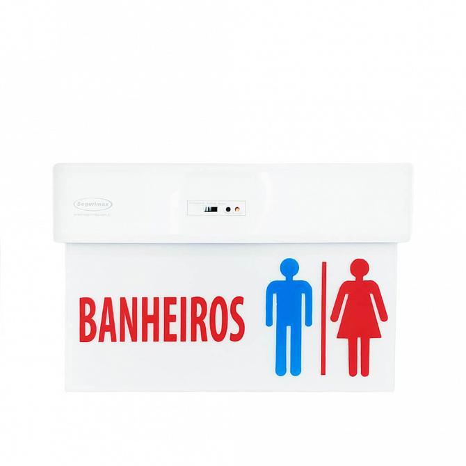 Placa LED autônoma banheiros 29,6 x 19,1cm - uma face