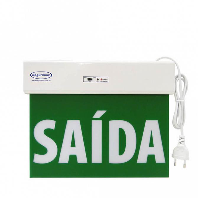 Placa LED autônoma saída de emergência 29,6 x  22,6cm - uma face