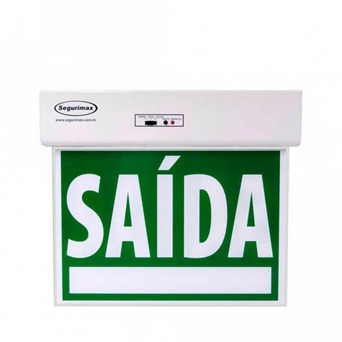 Placa LED autônoma saída de emergência com adesivo 26,1 x 22,1cm- duas faces