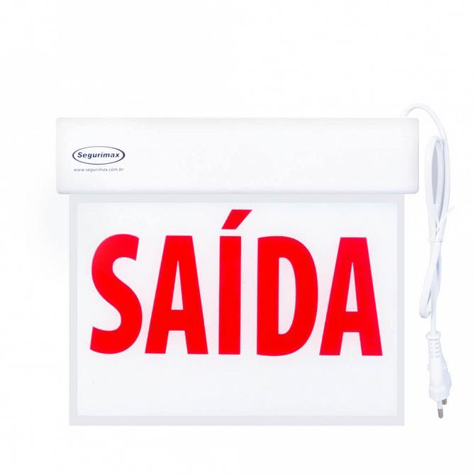 Placa LED autônoma saída de emergência com adesivo 26,1 x 22,1cm - uma face