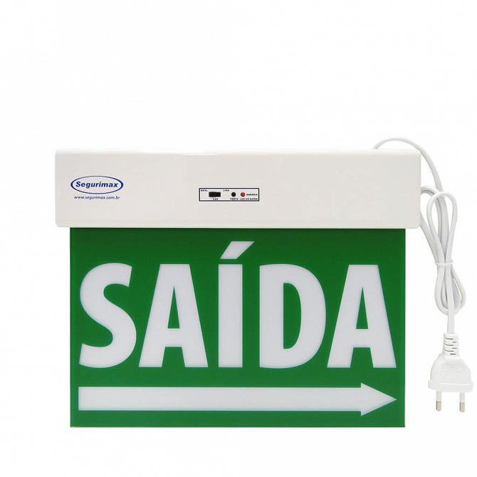 Placa LED autônoma saída de emergência com adesivo 29,6 x 22,6cm - duas faces