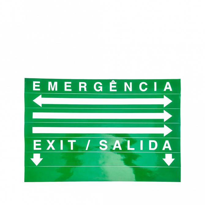 Placa LED autônoma saída de emergência com adesivo 50 x 25cm - duas faces