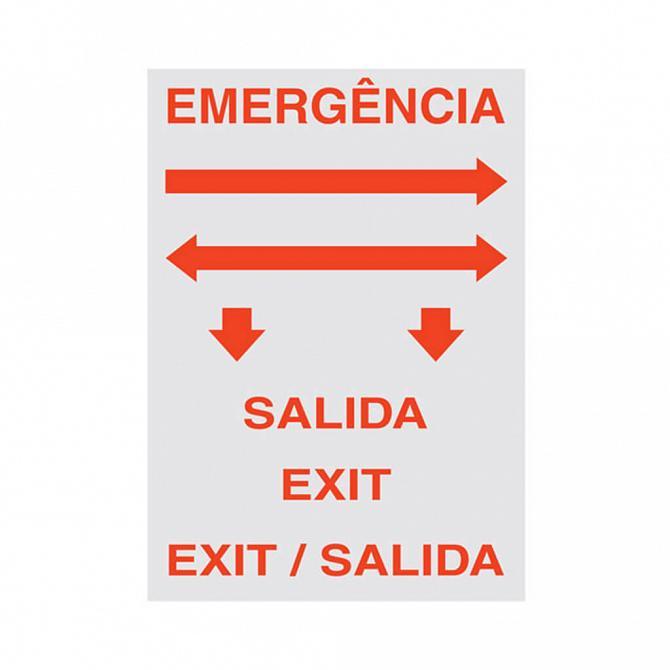 Placa LED coletiva saída de emergência com adesivo 26,1 x 22,1cm - uma face