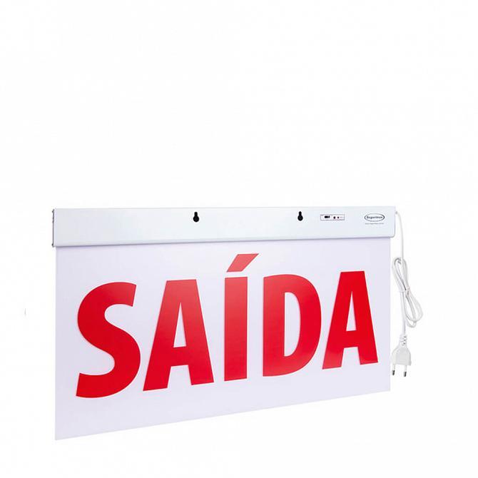 Sinalização acrílica luminosa autônoma saída com adesivo 50 x 25cm - duas faces