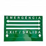 Sinalização de emergência (saída) acrílica verde autônoma com adesivos Dupla Face - SEGURIMAX