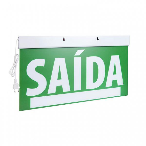 Sinalização saída SLIM dupla face 50x25 verde com seletor e adesivo