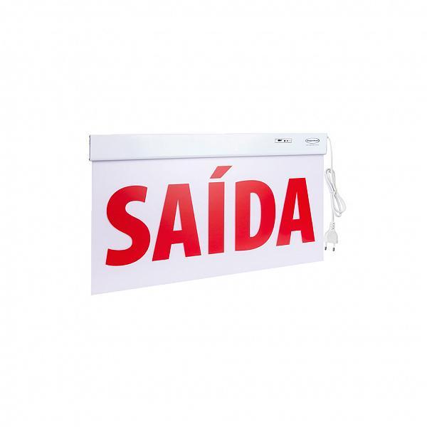 Sinalização Saída SLIM Dupla Face 50x25cm com adesivo - Frente