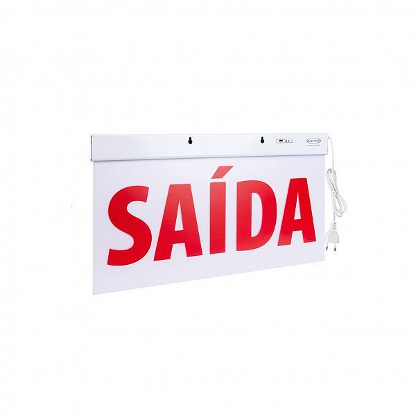 Sinalização Saída SLIM Dupla Face 50x25cm com adesivo - Verso