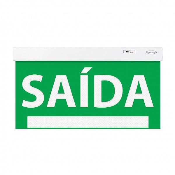 Sinalização saída SLIM face única  50x25 verde com seletor e adesivo