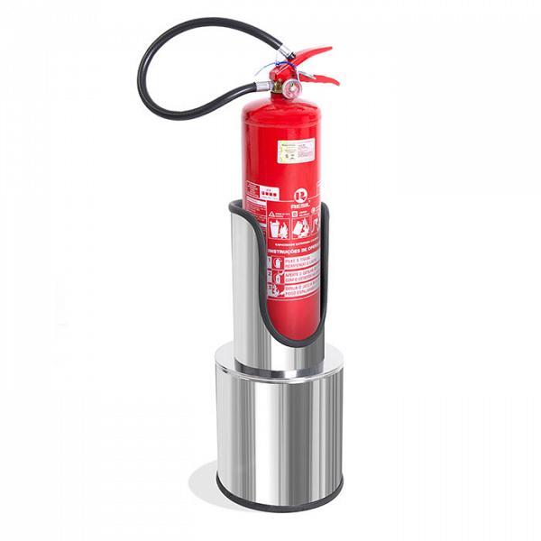 Suporte chão para extintor P4/P6 em aço inox polido com extintor