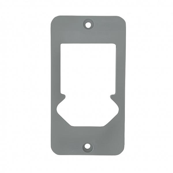 Tampa 2 teclas com tomada hexagonal PVC cinza para caixa 5 entradas 1/2