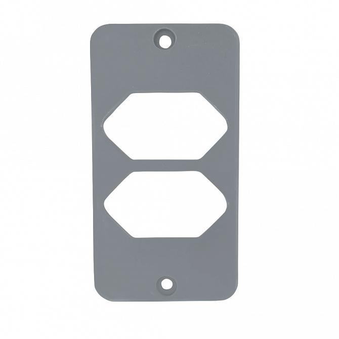 Tampa 2 tomadas hexagonal horizontal PVC cinza para caixa 5 entradas 1''