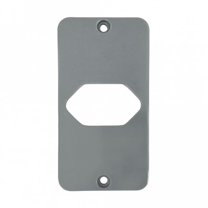 Tampa tomada hexagonal horizontal PVC cinza para caixa 5 entrada 1/2