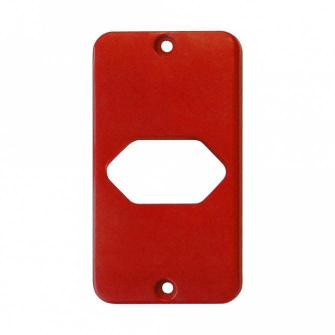 Tampa Tomada Hexagonal Horizontal Vermelho para Caixa 5 Saídas - 1/2